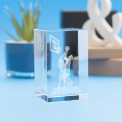 Basketball Sports Tower Crystal, 3D Engraved