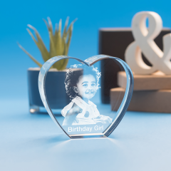 Birthday Heart Crystal, 3D Engraved