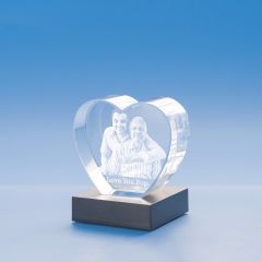 Father's Day Heart Crystal, 3D Engraved