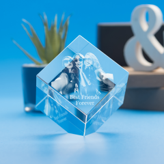 Cube Crystal, 3D Engraved