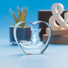 Pets Heart Crystal - 3D Engraved