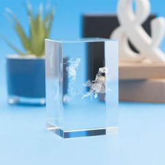 Pisces Zodiac Sign Tower Crystal, 3D Engraved