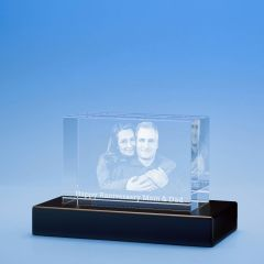 Anniversary Brick Crystal, 3D Engraved
