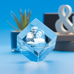 Valentine's Day Cube Crystal, 3D Engraved