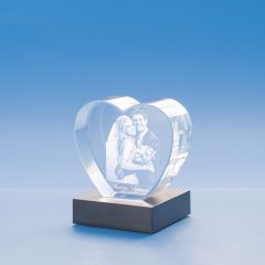 Wedding Heart Crystal, 3D Engraved