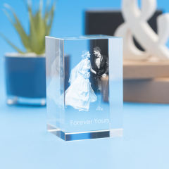 Wedding Tower Crystal, 3D Engraved