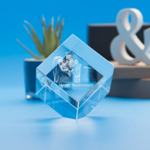 Anniversary Cube Crystal, 3D Engraved