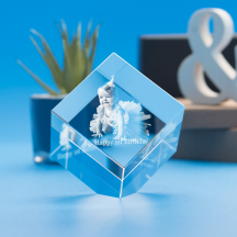 Birthday Cube Crystal, 3D Engraved