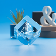 Graduation Cube Crystal, 3D Engraved