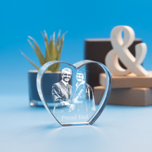 Graduation Heart Crystal, 3D Engraved