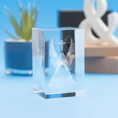 Angel Wings Religious Designs Tower Crystal, 3D Engraved