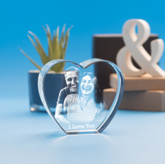 Anniversary Heart Crystal, 3D Engraved
