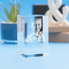 Birthday Tower Crystal, 3D Engraved