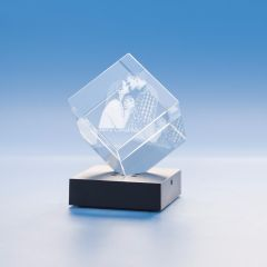 Christmas Cube Crystal, 3D Engraved