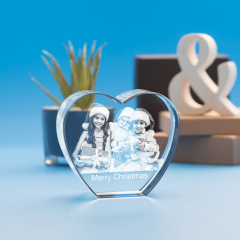Christmas Heart Crystal, 3D Engraved