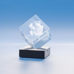 Father's Day Cube Crystal, 3D Engraved