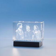 Graduation Brick Crystal, 3D Engraved