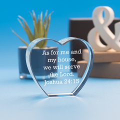 Bible Verse Heart Crystal, Laser Engraved
