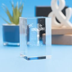 Jesus on Cross Religious Designs Tower Crystal, 3D Engraved