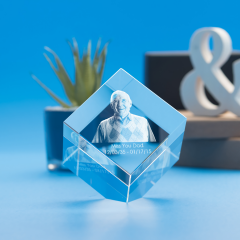 Memorial Cube Crystal, 3D Engraved
