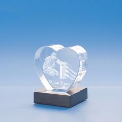 Memorial Heart Crystal, 3D Engraved