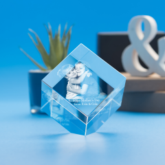 Mother's Day Cube Crystal, 3D Engraved