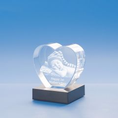 Mother's Day Heart Crystal, 3D Engraved