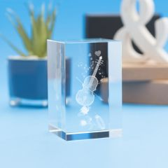 Music Hobbies Tower Crystal, 3D Engraved