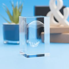 Sky Diving Hobbies Tower Crystal, 3D Engraved
