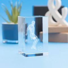 Soccer Sports Tower Crystal, 3D Engraved