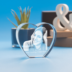 Valentine's Day Heart Crystal, 3D Engraved
