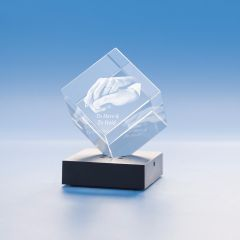 Wedding Cube Crystal, 3D Engraved