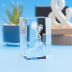 Weightlifting Sports Tower Crystal, 3D Engraved